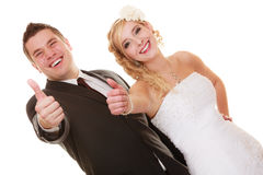 Wedding day. Portrait happy couple bride and groom Stock Image