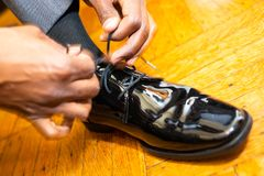 Wedding day preparation for groom stock images