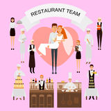Wedding day in restaurant concept vector poster in flat style. Restaurant workers team organize wedding holiday. Big. Cake, champange, just married couple Stock Photo