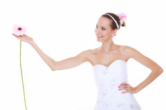 Wedding day. Romantic bride with pink flower isolated Royalty Free Stock Images