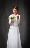 Wedding day rude gesture for new wife Royalty Free Stock Images