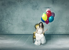 Wedding day sad for woman alone stock images