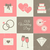 Wedding Day Set. A set of vintage style wedding day icons Stock Photography