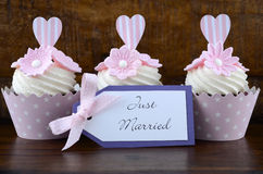 Wedding Day shabby chic style pink cupcakes Royalty Free Stock Photo
