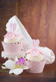 Wedding Day shabby chic style pink cupcakes Royalty Free Stock Image