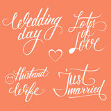 Wedding day typography elements on red background. Stock Photos