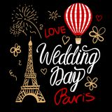 Wedding Day in a vintage Parisian style fashion. Vector illustrations elements Eiffel Tower, air balloon and lettering. stock illustration
