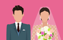 Wedding Day Web Banner. Newlyweds Couple Design Stock Image
