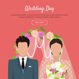 Wedding Day Web Banner. Newlyweds Couple Design Royalty Free Stock Photography