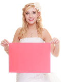 Wedding day. Woman bride holding sign red blank Royalty Free Stock Photography