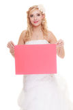 Wedding day. Woman bride holding sign red blank Royalty Free Stock Image