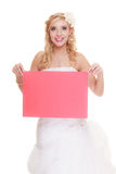 Wedding day. Woman bride holding sign red blank Royalty Free Stock Photos