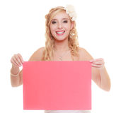 Wedding day. Woman bride holding sign red blank Stock Photos