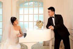 Wedding day of young asian couple royalty free stock image