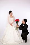 Wedding day of young asian couple Royalty Free Stock Images
