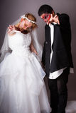 Wedding Day Zombie Bride and Groom Stock Photography