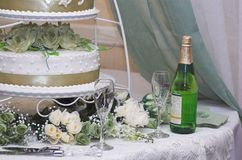 Wedding Day2. This is a photo of a wedding cake slice Stock Image