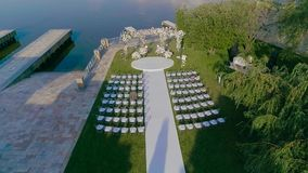 Wedding decor from the air, beautiful wedding decor in white colors from the air.  stock video footage