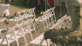 Wedding decor at the banquet stock footage