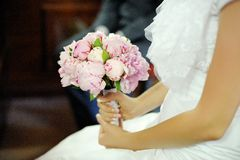 Wedding bouquet of pink peonies Stock Images
