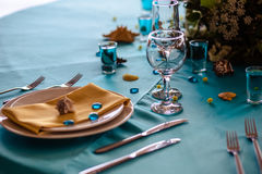 Wedding decor in blue colors, sea theme style Stock Photography