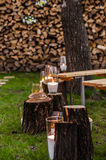 Wedding decor. Candles on the cut stumps Stock Photo