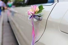 Wedding decor on the car handle Stock Photography