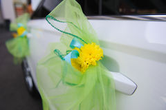 Wedding decor on the car handle Royalty Free Stock Images