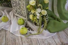 Wedding decor composition. Green Royalty Free Stock Photo