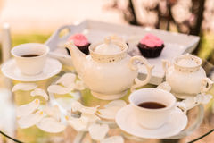 Wedding decor. Cups, retro teapot Royalty Free Stock Photo