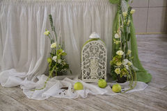 Wedding decor decor composition. Green Royalty Free Stock Photography