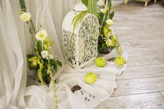Wedding decor decor composition. Green Stock Photo