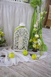 Wedding decor decor composition. Green Stock Image