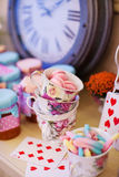 Wedding decor. Ations in the style of Alice in Wonderland stock photography