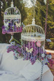Wedding decor. Decorative bird cages. Royalty Free Stock Image