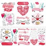 Wedding decor elements set.Labels,card,invitation Stock Image
