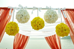 Wedding decor flowers in coral style. Wedding ceremony in marine style in coral color Stock Photo