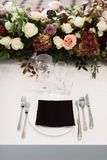 Wedding decor, interior. Festive. Banquet table. Modern wedding decorations. Tables served for the wedding stock photography