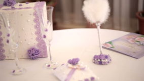 Wedding decor items on the table Royalty Free Stock Image