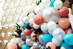 Wedding decor with large beads stock photos
