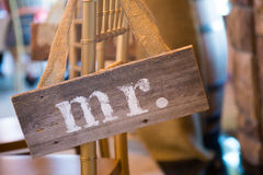 Wedding Decor Mr and Mrs Sign. Mr and Mrs signs used for decor at a wedding reception Royalty Free Stock Photos