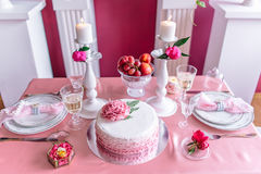 Wedding decor in pink with peonies. Love Stock Photo