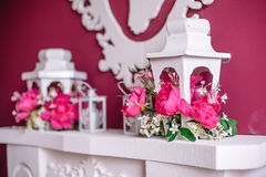 Wedding decor in pink with peonies. Love Stock Photography