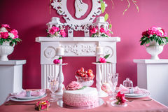 Wedding decor in pink with peonies. Love Stock Image