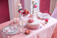 Wedding decor in pink with peonies. Love Royalty Free Stock Image