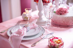 Wedding decor in pink with peonies. Love Royalty Free Stock Photos