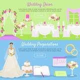 Wedding Decor and Preparations Web Banner. Vector Stock Photos