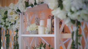 Wedding decor of real flowers stock video