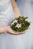 Wedding decor rings. Wedding Children's hands hold a cushion of green with rings royalty free stock photography