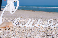 Wedding decor and shells on the beach Royalty Free Stock Images